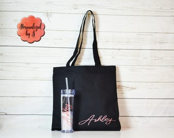 Rose Gold Canvas tote and tumbler set , Bridesmaid Tote and tumbler set, Wedding Party Gifts