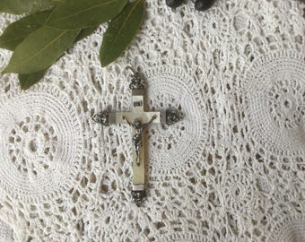 Cross, french antique, mother of pearl sterling silver crucifix 19th century