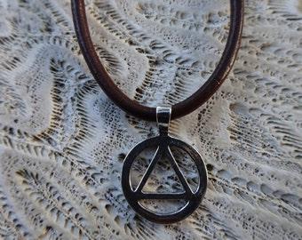 Leather Recovery and Sterling Necklace // Men Recovery Necklace // Men Sobriety Jewelry // AA Recovery // Sober Gifts // Sobriety Necklace