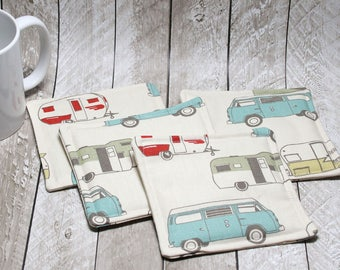 Retro Camper Fabric Coasters, Set of 4