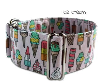 summer dog collar *ice cream* , popsicle dog collar, food dog collar, pink dog collar, custom, martingale, buckle collar; greyhound collar