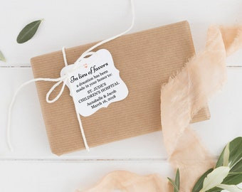 In lieu of favors tag (30) - Donation favor tags - Wedding tags