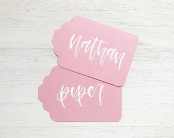 Blossom Handwritten Gift Tags with White Ink Writing for Wedding or Event // Modern Calligraphy Favors, Pink Handwritten Tags, Bridal Shower
