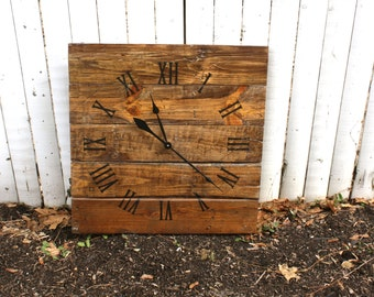 Large Wall Clock,  Rustic.  Reclaimed Pallet Wood CUSTOM. Warm Coffee.  Repurposed Wood.
