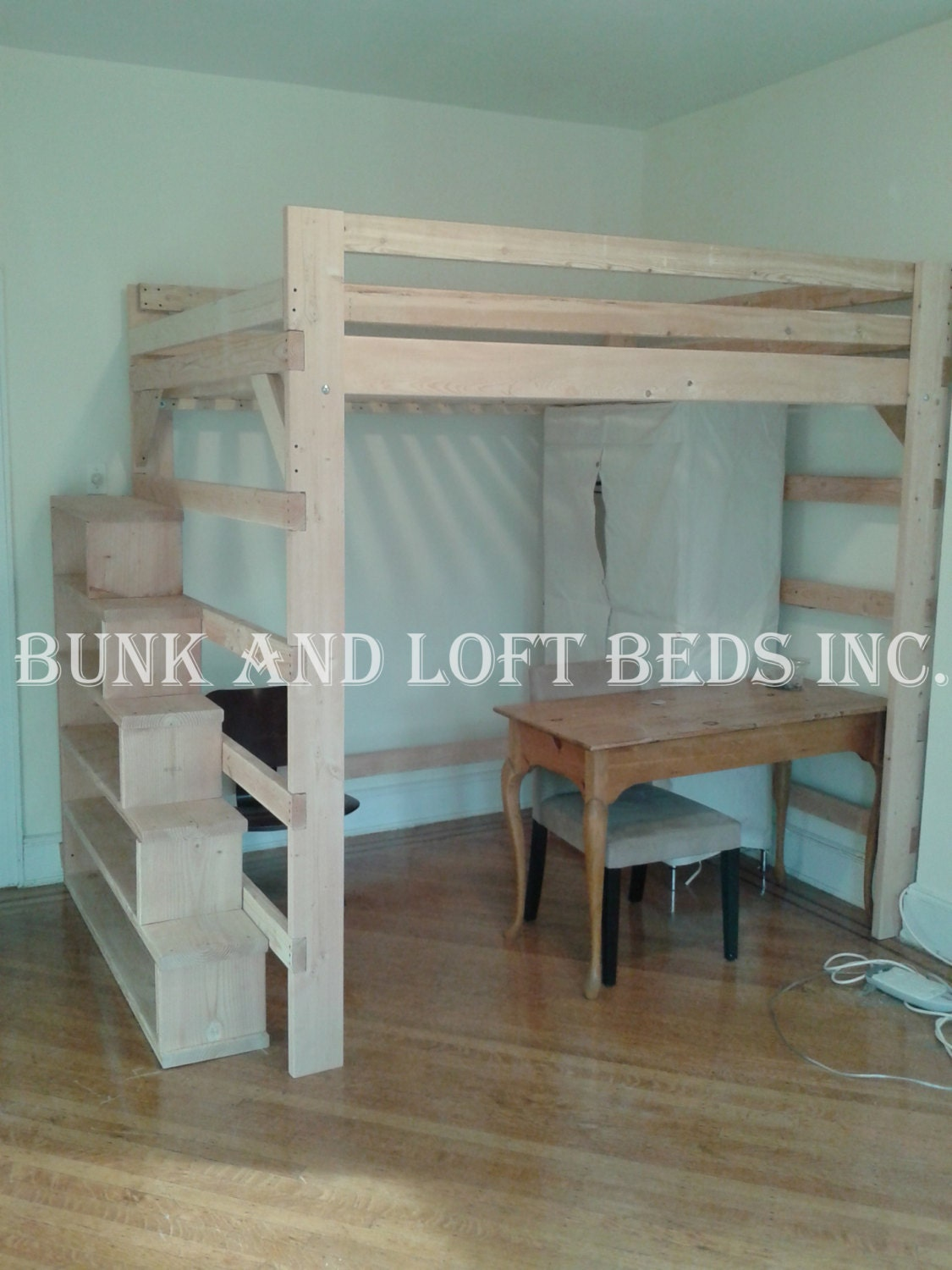 Queen size extra tall loft bed with custom made stair case for Case loft