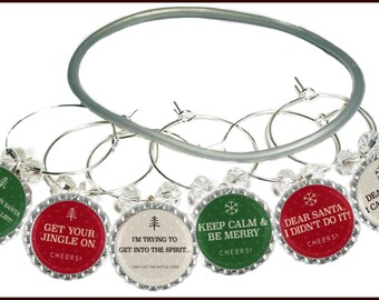 Christmas Wine Charms - Keep Calm and Be Merry Theme -  6 per set