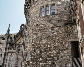 Ireland Photography – Record tower of Dublin Castle with Sun starburst