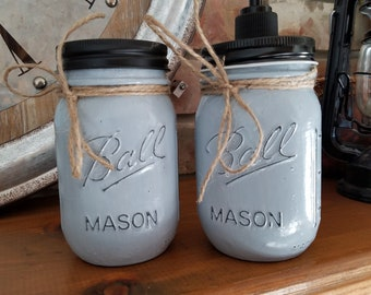 Farmhouse Shabby Chic distressed Mason Jar Toothbrush Holder and Soap Dispenser granite Grey