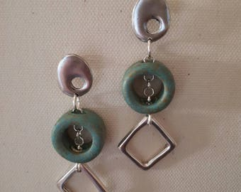Pendant earrings with green water pin. Created by LeBoncine by Alessandrabonci
