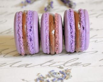 French Macaron Lavender and black cherry, 8 gourmet cookies, party favors.  edible French macarons in a box, birthday gift, gluten free