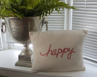 happy pillow cover,  red and beige pillow cover, painted pillow, farmhouse pillow