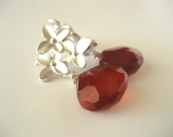 Spring Bloom Earrings...Red Chalcedony and Cherry Blossom Earring Post...FREE SHIPPING