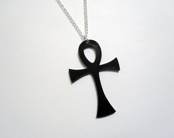 "LARGE ANKH NECKLACE Laser Cut 2.25"" Black or White Acrylic or Wooden Ankh Symbol Pendant on 24"" Silver Plated Chain"