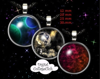 80% Off Spring Sale Space Digital Collage Sheet 12 mm, 20mm, 30 mm, 1 inch (25 mm) Round Images for Bottlecap, Jewelry Making, Scrapbooking,