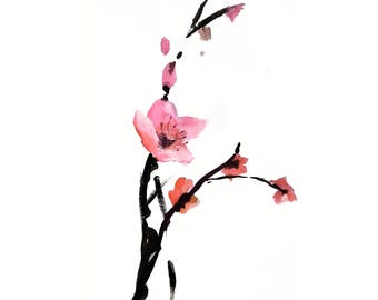 Cherry Blossoms Art Watercolor Small Painting poster Flowers Sakura Watercolor Painting Wall Art Bride Wedding Gift Aquarelle Art