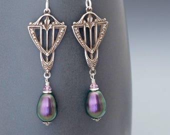 Purple Art déco boucles d'oreilles, boucles d'oreilles violettes, cristal Swarovski Perle boucles d'oreilles, bijoux de style Art déco, violet oreilles hypoallergéniques, Agar