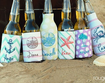 SEASIDE monogrammed can coolie, personalized coolie, beer coolie, bottle coolie - weddings, bachelorette, birthday, beach, patio, pool