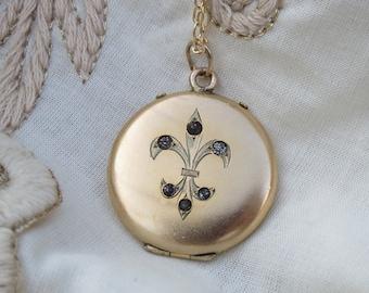 Antique Edwardian Gold Filled Fleur-De-Lis Locket