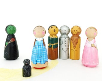 """Wizard Of Oz 3 1/2"""" Peg doll play set // wooden toys // Dorothy and Toto // Peg dolls // Wicked Witch - Tin Man - Lion - Scarecrow"""