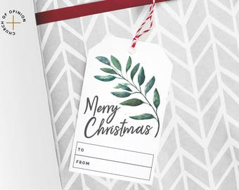 10-pack Watercolor Leaves Gift Tag - Instant Download - Merry Christmas Gift Tag - XO Card - Printable Gift Tags - DIY Gift Tags