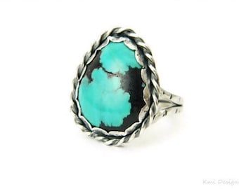 Turquoise Sterling Silver Ring, Gemstone Ring, Gypsy Ring, Cocktail Ring