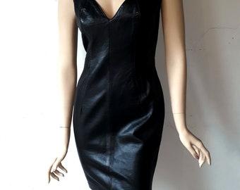 Michael Hoban North Beach Leather Black Sleeveless Dress. Size 7/8