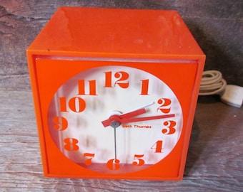 Vintage 1970's Orange Mini Cube Mid Century Modern Alarm Clock by Seth Thomas