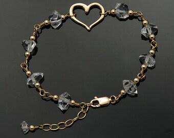 Herkimer Diamond bracelet / Quartz Crystal bracelet / Herkimer bracelet / Herkimer Gold / April Birthstone / to MANIFEST LOVE