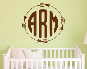 Monogram Wall Decals Etsy - Monogram wall decal for nursery