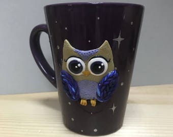 Beautiful handmade work from Ukraine! A cup with night owl and stars! Ceramics and plastics! Best gift for friend! Professional work!