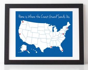 "Home is Where the Coast Guard Sends Us 8"" x 10"" Print w/ Vinyl Heart Decals   Coast Guard Mom   Coast Guard Girlfriend   Coast Guard Wife"