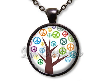 Retro Peace Tree Lover Dome Pendant or with Chain Link Necklace VT116