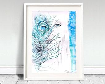 Young lady watercolor art print. Wall art, wall decor, digital print.