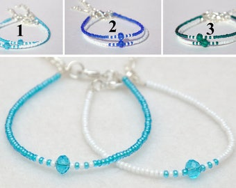 Best friend gift for best Friend bracelet Friendship bracelet Aquamarine Beaded bracelet white Bead bracelet Simple bracelet Tiny bracelet