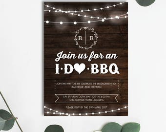 I Do BBQ Rustic Engagement/Save the Date Invitation - DIGITAL