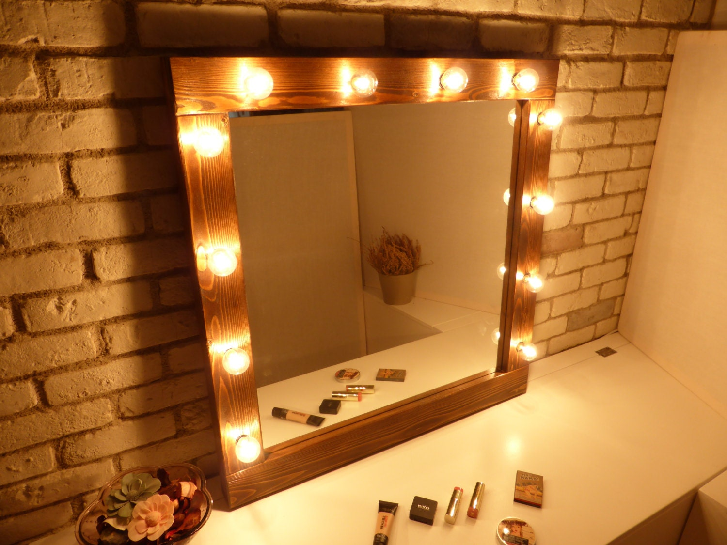 Hollywood mirror with lights rustic mirror makeup mirror