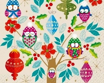 New the tree A owls 1 lunch size paper towel 011
