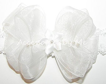 Baptism Headband, Baby White Bow Band, Organza Pearls Satin Ribbon Bow, Newborn Infant 1st Blessing Christening, Wedding Occasion Party Gift