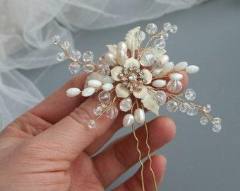 Wedding hair flower Wedding hair pin Ivory Bridal hair pin Flower hair pin Bridal hair accessories Bridal hair flower Wedding hair accessory
