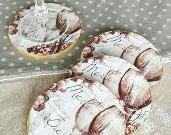 "Coasters: romantic Baroque atmosphere ""wine and grapes in french"" shabby chic"