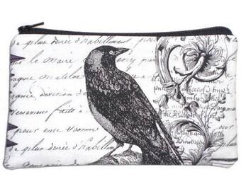 Victorian Gothic Raven Makeup Bag  Zipper Pouch Wallet Gadget Bag Clutch