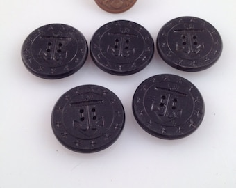 Vintage navy buttons 6 count