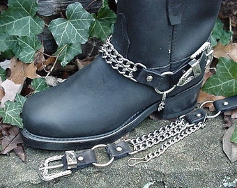 BIKER Boots BOOT CHAINS- Black Leather with 2 Steel Chains