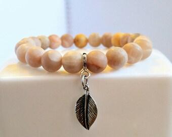 Sunstone Bracelet, Sunstone and Leaf Bracelet, Matte Sunstone Bracelet, Matte Gemstone Bracelet, 8 mm Sunstone Bracelet, Gemstone Bracelet