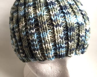 Mens beanie hat vegan friendly hand knitted hat