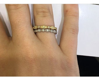 Stackable tricolor Diamond Rings