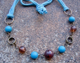 Eco-Friendly T Shirt Yarn Necklace - Sanctuary - Soft Yarn from Recycled T Shirts, Vintage Brass Hoops & Beads in Earth Brown and Sky Blue