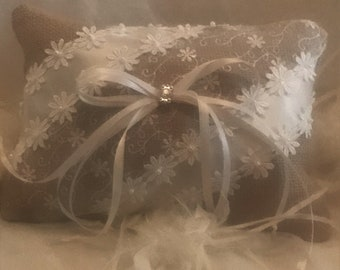 Sheer Lace, Burlap, and Ivory Ring Bearer Wedding Pillow