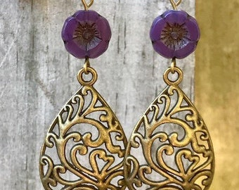 Purple Earrings, Bohemian Earrings, Bohemian Jewelry, Brass Earrings, Boho jewelry, Dangle Drop Earrings, Rustic Earrings, Gift for Her