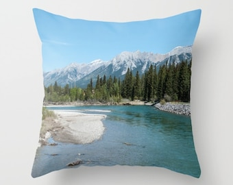 Lodge Pillow Cover, Canadian Rocky Mountains Photography Cushion Case, Turquoise Sofa Accent, Teal Chair Decoration, Lake House Wall Art